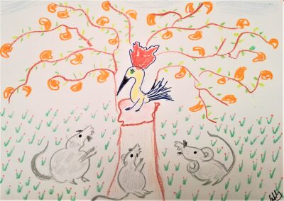 Los tres ratones y el pájaro Carpintero.